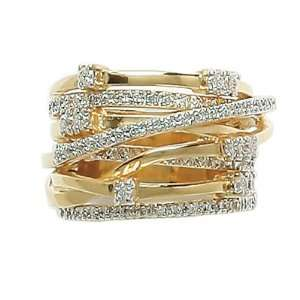 Ladies 18K Gold Plated Clear Cubic Zirconia Multi Row Elegance Luxury