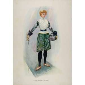 1903 Print Woman Fencer Fencing Sword Costume UNUSUAL