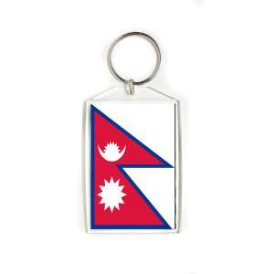 Nepal Nepali Nepalese Flag Double Sided Acrylic Key Ring Large Keyring