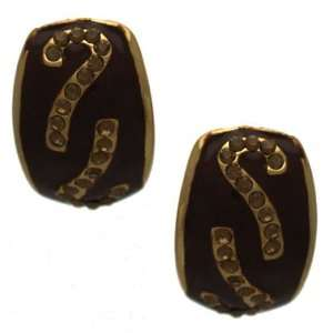 Lawrencia Gold Brown Crystal Clip On Earrings Jewelry