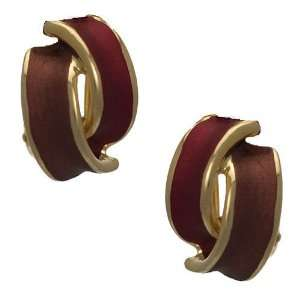 Seduction Gold Plated Red Clip On earrings by Rodney Jewelry