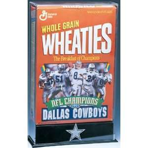 Cereal Box Display Case with Engraved NFL Team Logo