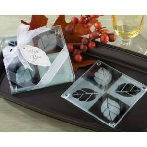 Autumn Sparkle Frosted Leaf Glass Coasters (Set of 2)