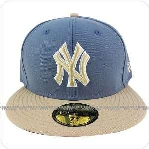 era 59fifty new york yankees stone blue NY beige visor fitted cap hat