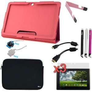 Hot Pink Folio PU Leather Case with Stand + Neoprene Zipper Pouch Case