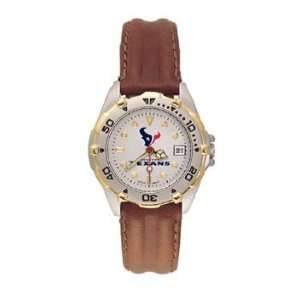 Texans All Star Ladies Black Leather Strap Watch