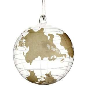 4 Glass Globe Ornament Gold Clear (Pack of 6)