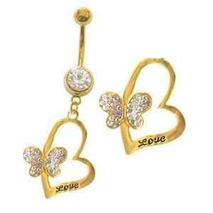 Gold plated dangle Belly navel Ring piercing bar body jewelry 14g