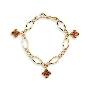 14k Yellow Gold Cheetah Leopard Flower Charm Bracelet Jewelry