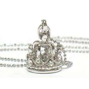 Adorable 3d Iced Crystal Crown Charm Necklace Silver Tone Jewelry