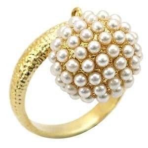 Balls Yellow Synthetic Stone Brass Gold Plated Ring AM Jewelry