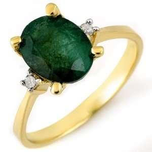 Genuine 1.54 ctw Emerald & Diamond Ring 14K Yellow Gold Jewelry