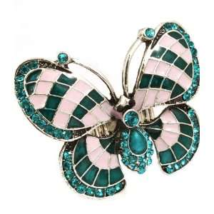Inspired Teal Crystal Butterfly Lovers Enamel Stretch Ring Jewelry