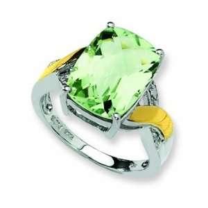Sterling Silver & 14k Green Amethyst & Diamond Ring, Size 7 Jewelry