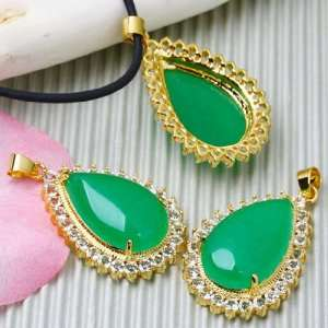 Jade Rhinestone Teardrop GIFT Pendant Bead [1piece WITH FREE Necklace
