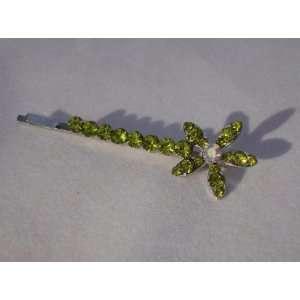 Celery Green Crystal Flower Hair Pin