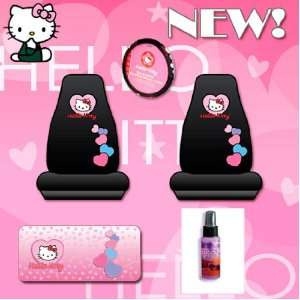 Hello Kitty Sanrio Hearts Design 5 Pieces Combo Set Covers Steering