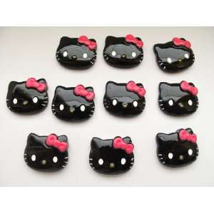 10 Large Resin Cabochon Flat Back Kitty Cat Black Face Cellphones 27mm