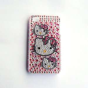 Hello Kitty head Rhinestone Bling Crystal back cover case for Iphone 4