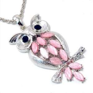 and Black Jewel Long Owl Pendant Necklace Fashion Jewelry Jewelry