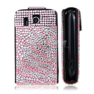 BABY PINK ZEBRA LEATHER BLING FLIP CASE FOR HTC EXPLORER Electronics