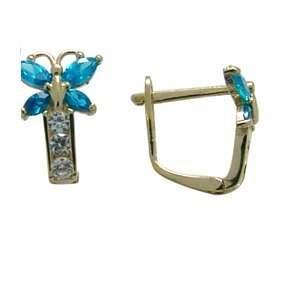 Blue   Birthstone Butterfly 14k Yellow Gold Huggie Earrings Jewelry
