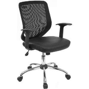Black Office Chair w/Mesh Back/Italian Leather Seat