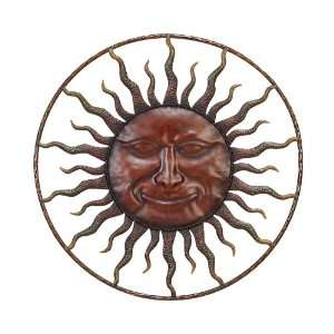 20 Inch Wide Metal Round Wall Hanging SUN Face Sunface