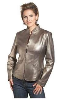 Bernardo Womens Zip Front Metallic Leather Motocross Jacket Clothing