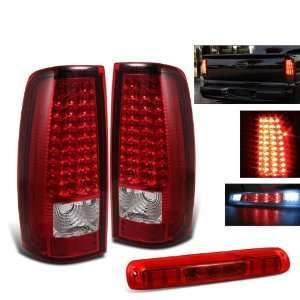 02 Silverado Sierra Red LED Tail Lights+third Brake Light Automotive