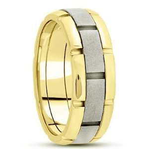 6.0 Millimeters Reverse Two Tone Wedding Ring 18Kt Gold