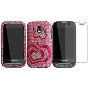 Pink Hearts Full Diamond Bling Case Cover+LCD Screen Protector for