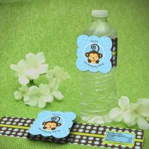 Personalized Monkey Boy Birthday Party Water Bottle Labels