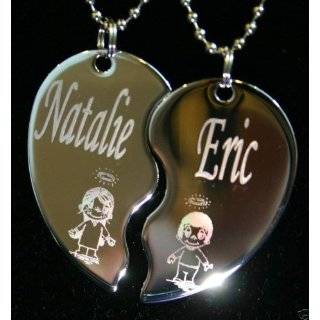 Necklace Couples Breakable Heart Pendant   Personalize Any Two Names