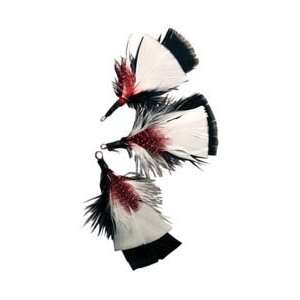 Midwest Design Natural Feather Picks 3/Pkg 3 Red/White