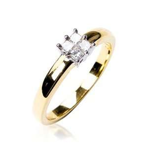 Set Princess Cut Invisable Set Ring in 18ct Yellow Gold, Ring Size 6.5