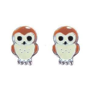 Tomas Sterling Silver Enamel Post Earrings   Owl Jewelry