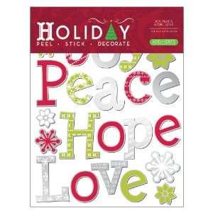 Lot 26 Studio, Joy, Peace, Hope, Love, Vinyl Christmas Peel and Stick