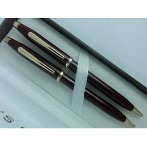 Red Wood and 23k Gold Pen and 0.5MM Pencil Set Health & Personal Care