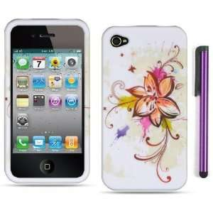 Apple Iphone 4, 4s Phone Protector Hard Cover Case White Plant