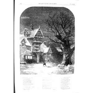 1855 SNOW STREET SCENE HOUSE TREES WINTER OLD PRINT