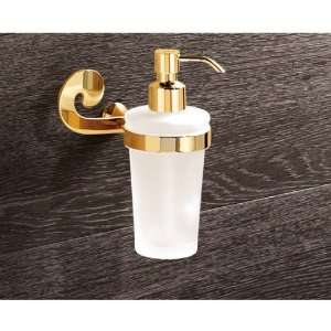 Mounted Round Frosted Glass Soap Dispenser with Gold Mounting 3381 87