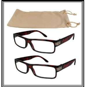 Reading Glasses~2 Tortoise Plastic Frame~Logo~Case+2.50