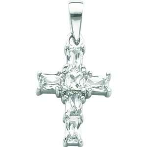 Sterling Silver CZ Cross Charm Religious Jewelry Jewelry
