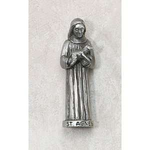 Agnes 3 Patron Saint Statue Genuine Pewter Catholic Religious Gifts