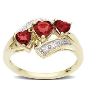 Yellow Gold Created Heart Shaped 3 Stone Ruby Ring, Size 5 Jewelry