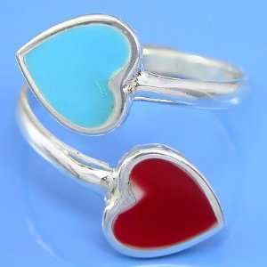 3.02 grams 925 Sterling Silver Heart Inlaid Gemstone Ring