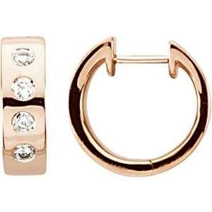 14K Rose Gold Diamond Hoop Huggy Earrings Jewelry