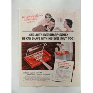 Eversharp Schick Injector Razor, Vintage 50s full page print ad world