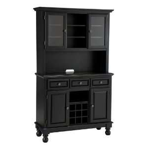 Home Styles Furniture Black Buffet with Black Granite Top and Two Door